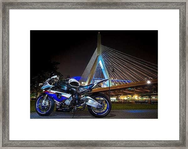 Bike And Bridge Framed Print
