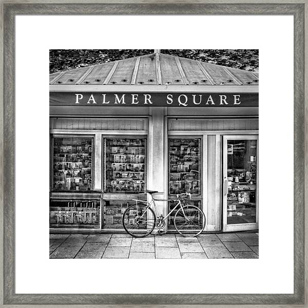 Bike At Palmer Square Book Store In Princeton Framed Print