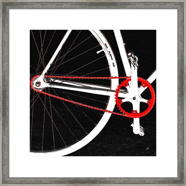 Bike In Black White And Red No 2 Framed Print