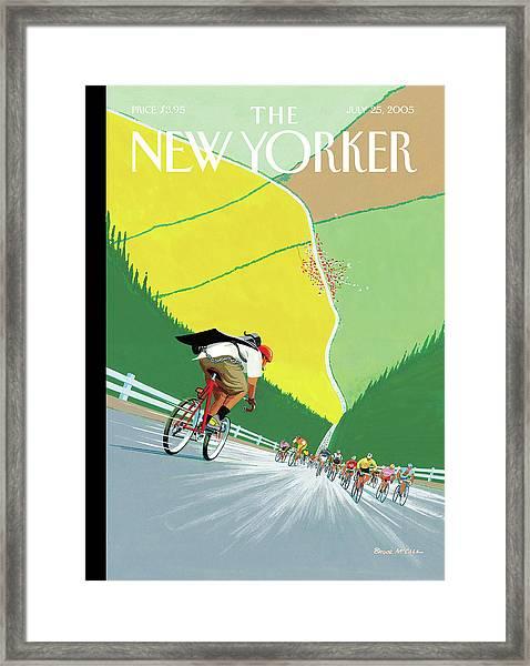 Bike Messenger Racing Towards Bikers Racing Framed Print