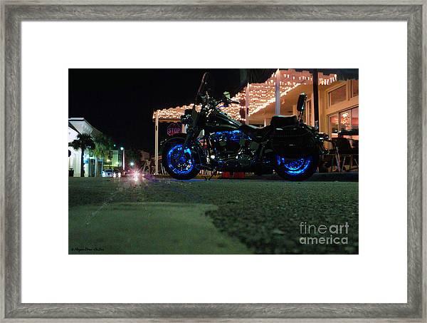 Bike Night In Blue Light Framed Print