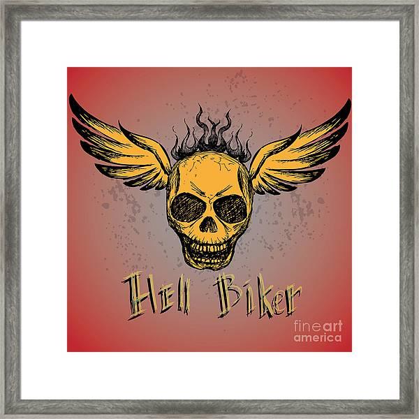 Biker Emblem, Logo Or Tattoo, Hand Framed Print by Naum