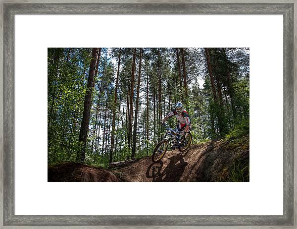 Biker On Trail Framed Print
