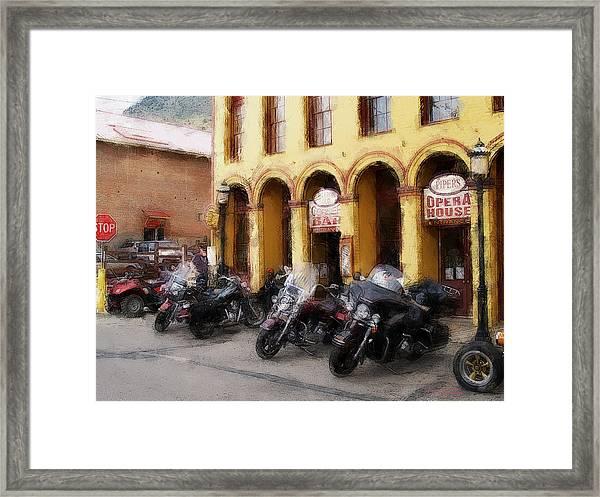 Bikers Outside Corner Bar Framed Print