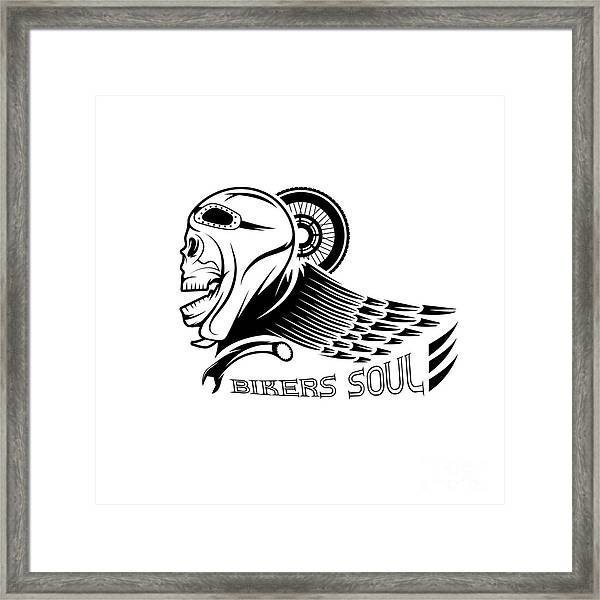 Bikers Theme Label With Skull,wheel And Framed Print