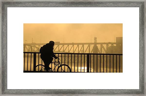 Biking The Bridges Framed Print