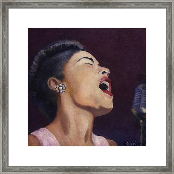 Billie Holiday Framed Print by Linda Ruiz-Lozito