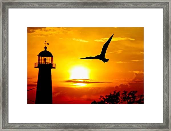 Biloxi Lighthouse Sunset Framed Print