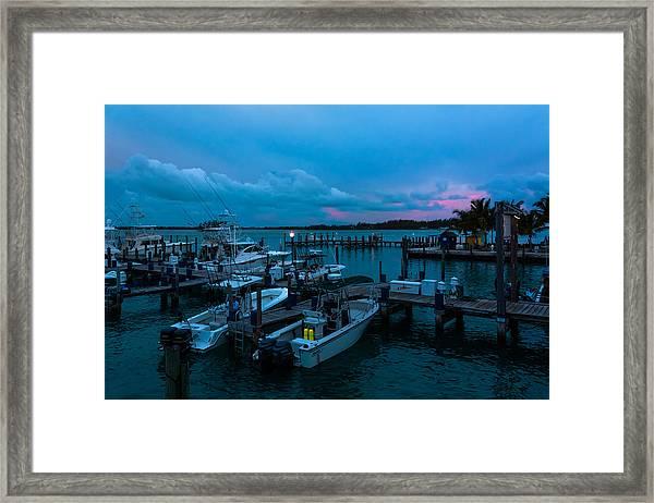 Bimini Big Game Club Docks After Sundown Framed Print