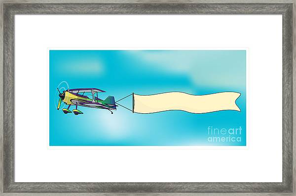 Biplane Aircraft Pulling Advertisement Framed Print