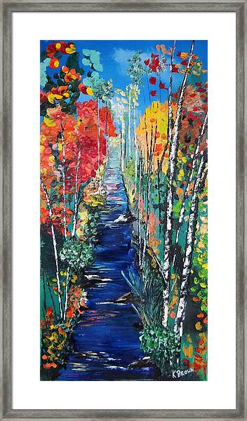 Birch Trees Along River Bank Framed Print