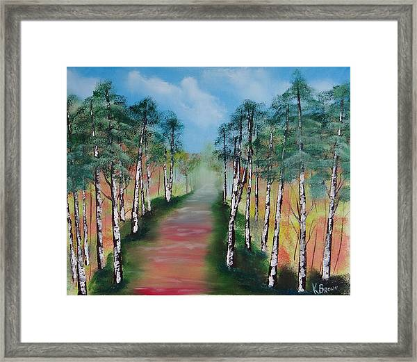 Birch Trees Along Winding Path Framed Print