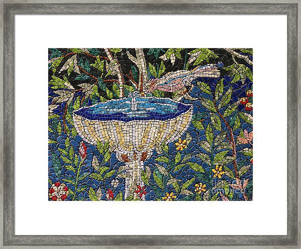 Birdbath Mosaic Framed Print
