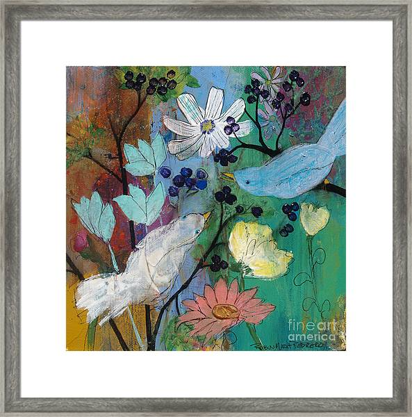 Birds And Berries Framed Print