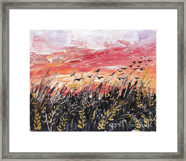 Birds In Wheatfield Framed Print