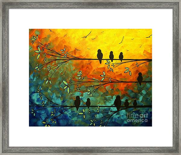 Birds Of A Feather Original Whimsical Painting Framed Print