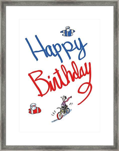Birthday Bicycle Painter Framed Print