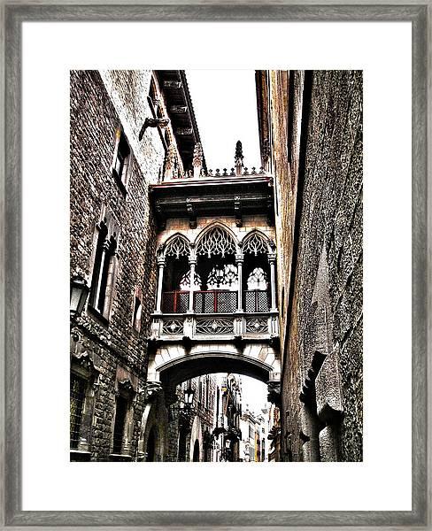 Bishop's Street - Barcelona Framed Print