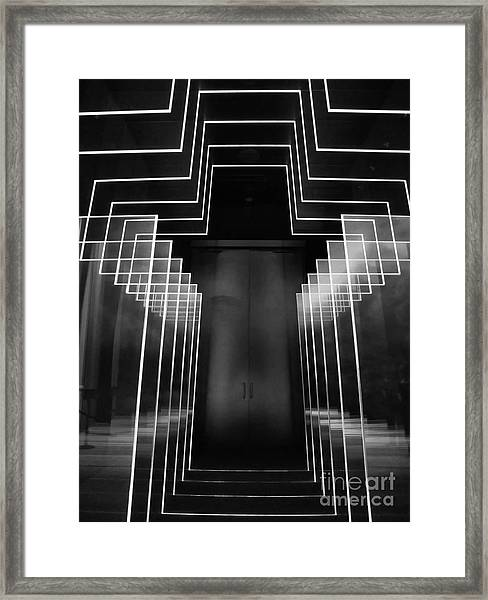 Black And White Neon Cross At The Billy Graham Library  Framed Print