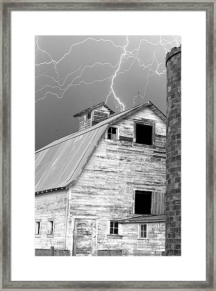 Black And White Old Barn Lightning Strikes Framed Print