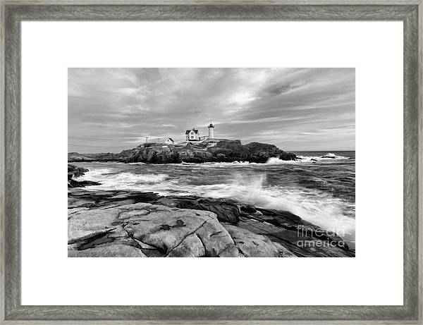 Black And White Painted Seascape Framed Print