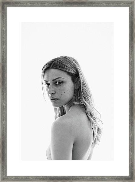 Black And White Portrait Of A Young Framed Print by Aleksandarnakic