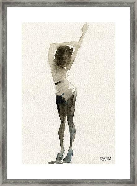 Black And White Stripes Watercolor Fashion Woman Art Print  Framed Print