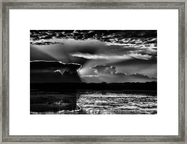 Black And White Sunset Over The Mead Wildlife Area Framed Print