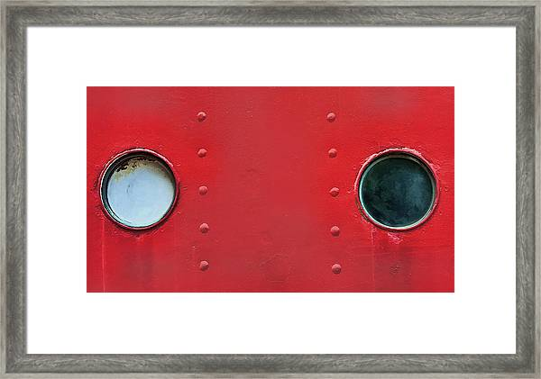 Black And White Windows On Red Framed Print