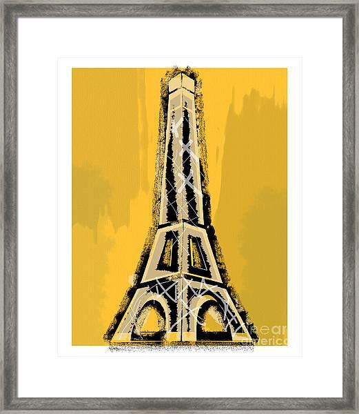 Black And Yellow Eiffel Tower Paris Framed Print
