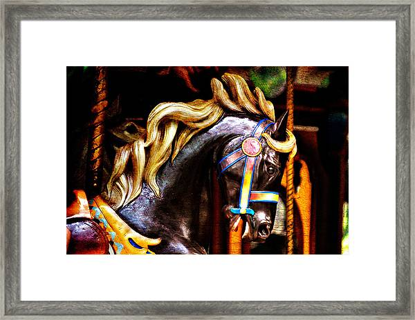 Black Carousel Horse Framed Print