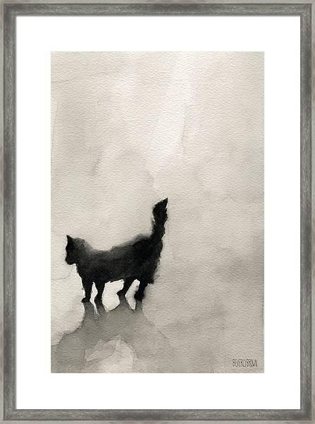 Black Cat Watercolor Painting Framed Print