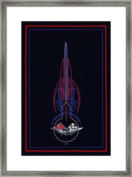 Black Corvette Framed Print