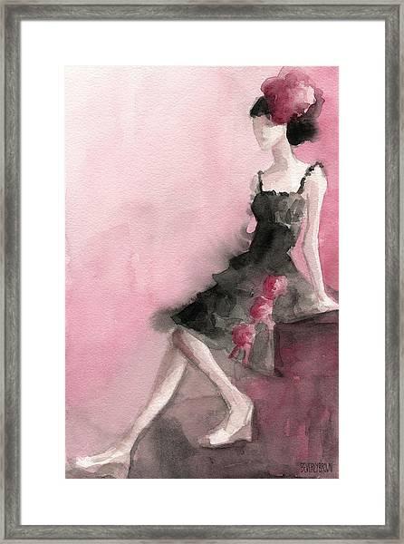 Black Ruffled Dress With Roses Fashion Illustration Art Print Framed Print