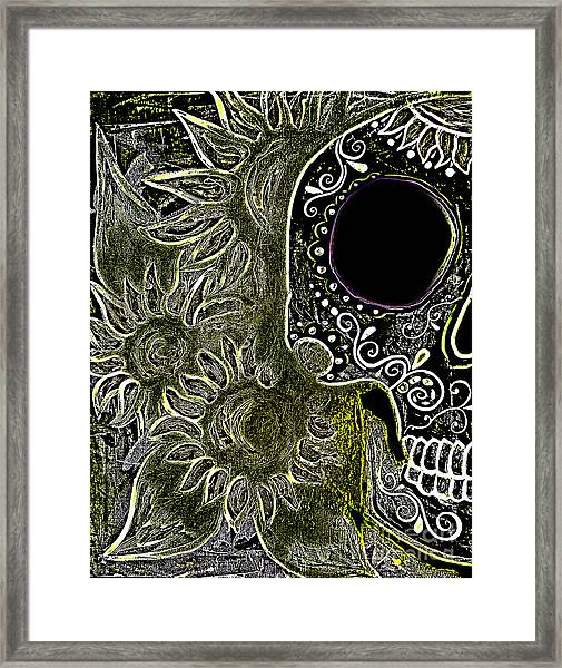Black Sunflower Skull Framed Print