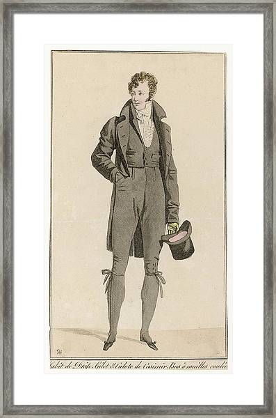 Black Woollen Suit Cut-away  Coat Framed Print