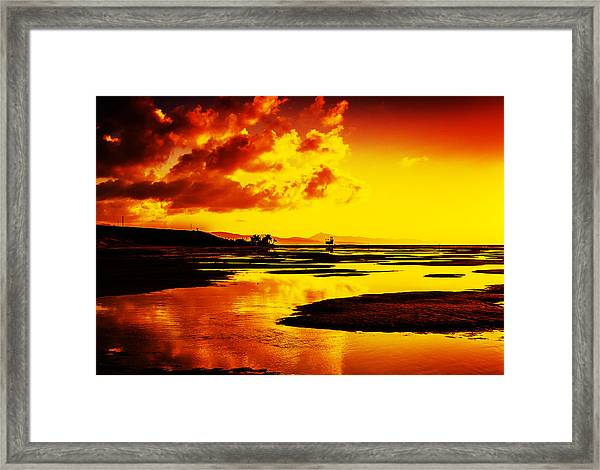 Black Yellow And Orange Sunrise Abstract Framed Print