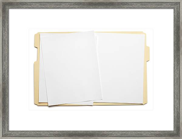 Blank Paper In An Open File Folder On White Background Framed Print by Dny59