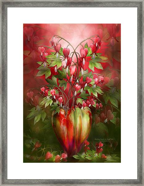 Bleeding Hearts In Heart Vase Framed Print