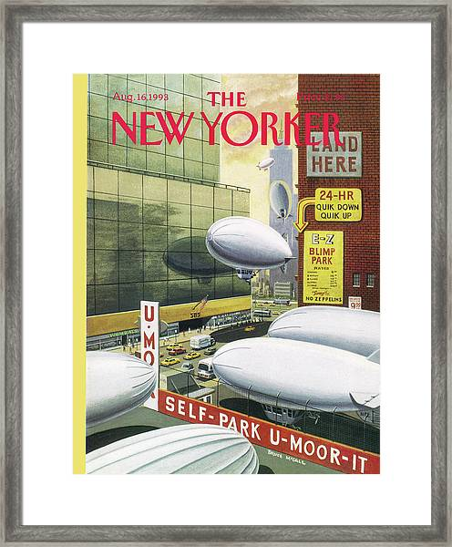 Blimp Park Framed Print by Bruce McCall