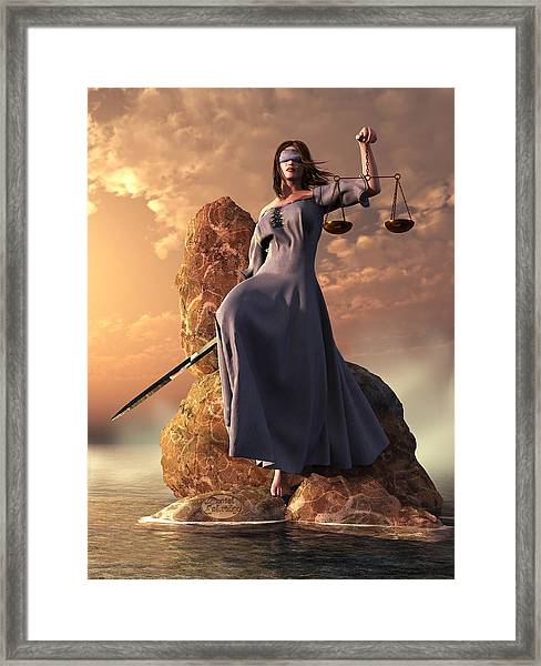Blind Justice With Scales And Sword Framed Print