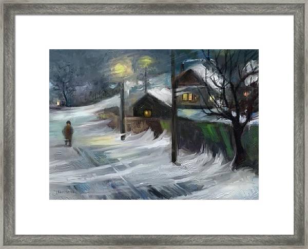 Blizzard Night Framed Print by Tancau Emanuel