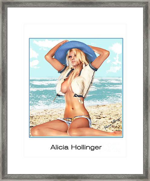 Blonde On The Beach With Opened Shirt Framed Print