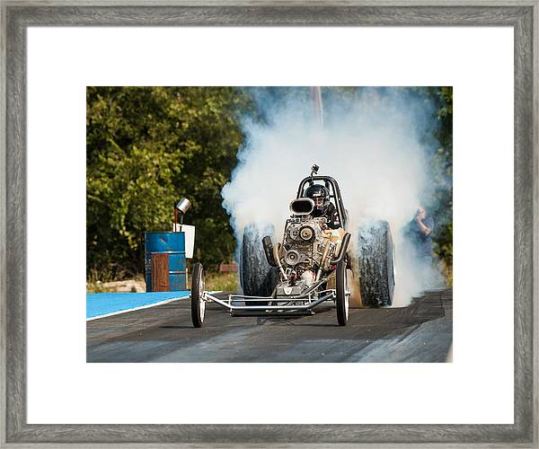 Blown Front Engine Dragster Burnout Framed Print