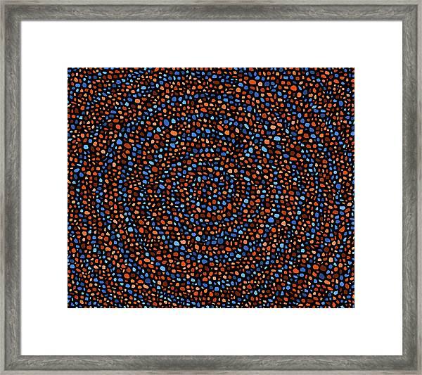 Blue And Orange Circles Framed Print