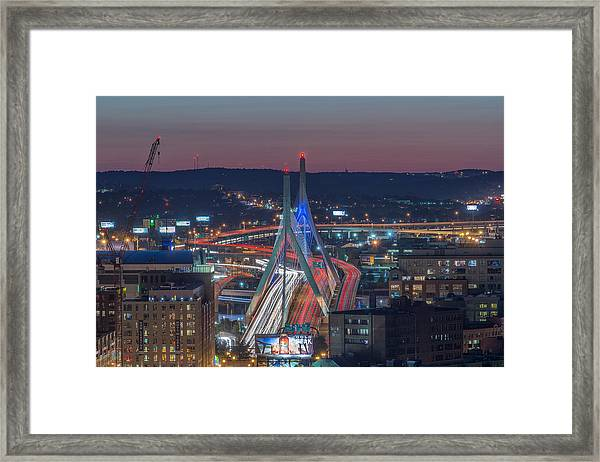 Blue And Red Zakim Framed Print