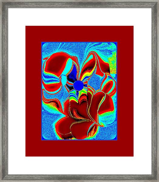 Blue And Rust Framed Print