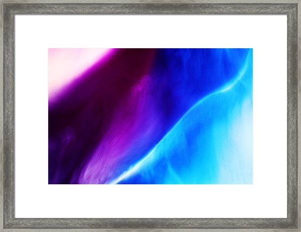 Blue And Violet Dyes In Liquid Framed Print by Mimi  Haddon