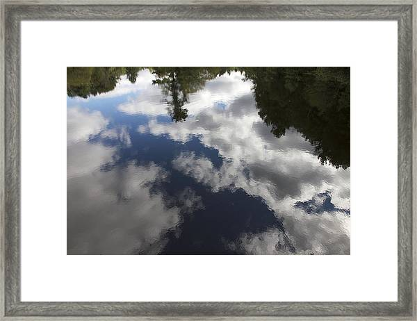Blue And White Pond Framed Print