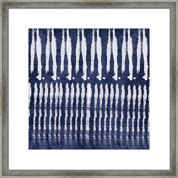 Blue And White Shibori Design Framed Print